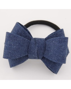 Korean Fashion Adorable Bowknot Cloth Hair Band - Jean Blue