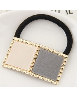 Golden Rimmed Contrast Color Design Fashion Hair Band - Gray
