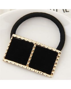 Golden Rimmed Contrast Color Design Fashion Hair Band - Black