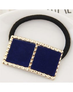 Golden Rimmed Contrast Color Design Fashion Hair Band - Blue