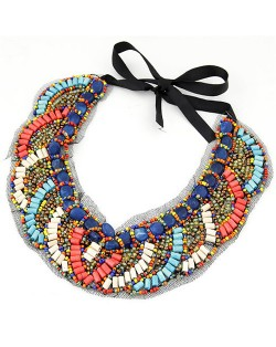 Wooden Mini Beads Mingled Curves Pattern Collar Fashion Necklace