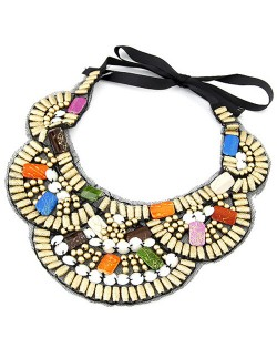 Colorful Precious Gems Inlaid Design Wooden Beads Fashion Collar Necklace