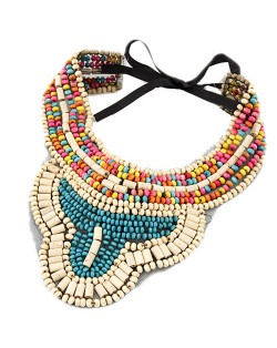 Royal Bohemian Fashion Colorful Wooden Mini Beads Collar Necklace