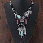 Folk Style Resin Gem Inlaid Multiple Elements Pendants Design Statement Fashion Necklace - Silver