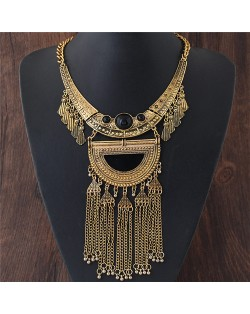 Ancient Engravings Arch and Tassel Chain Design Alloy Statement Fashion Necklace - Golden