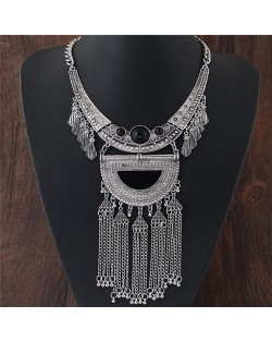 Ancient Engravings Arch and Tassel Chain Design Alloy Statement Fashion Necklace - Silver