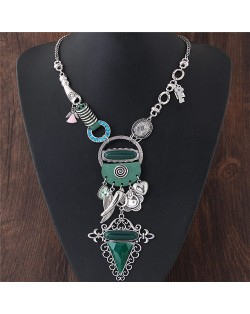 Assorted Fashion Elements Combo Exaggerated Style Costume Necklace - Silver