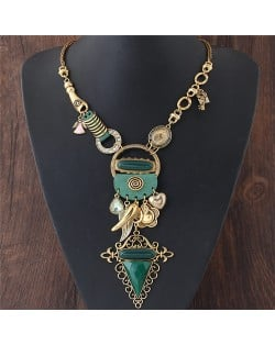 Assorted Fashion Elements Combo Exaggerated Style Costume Necklace - Golden