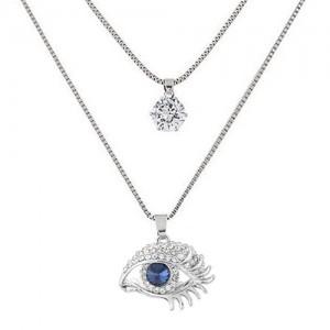 CS-DB Blue Crystal CZ Flower Shape Pendants Silver Necklaces