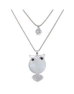 Rhinestone and Cubic Zirconia Embellished Cute Opal Fish Pendant Dual Layers Long Fashion Necklace