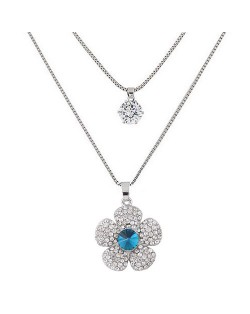 Korean Fashion Sweet Shining Flower Pendant Two Layers Long Costume Necklace
