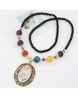 Vintage Hollow Vine Rimmed Gem Pendant Colorful Beads Decorated Long Fashion Necklace