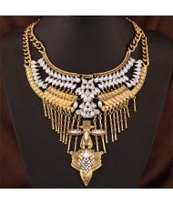Rhinestone and Resin Embellished Folk Bird Head Totem Bold Style Statement Fashion Necklace - Golden