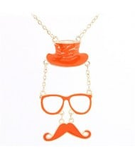 Unique Hat Glasses and Moustache Pendant Design Fashion Necklace - Orange