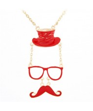 Unique Hat Glasses and Moustache Pendant Design Fashion Necklace - Red