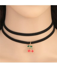 Sweet Cherry Pendant Dual Layers Rope Fashion Necklace