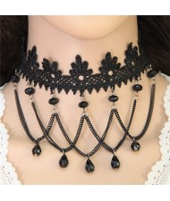 Beads Tassel Design Floral Lace Choker Necklace