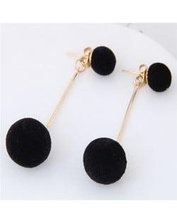 Fluffy Ball Shape Elegant Korean Fashion Stud Earrings - Black