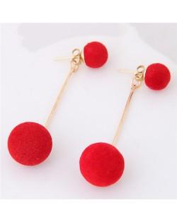 Fluffy Ball Shape Elegant Korean Fashion Stud Earrings - Red