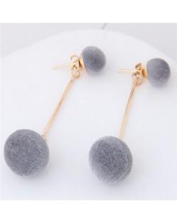 Fluffy Ball Shape Elegant Korean Fashion Stud Earrings - Gray