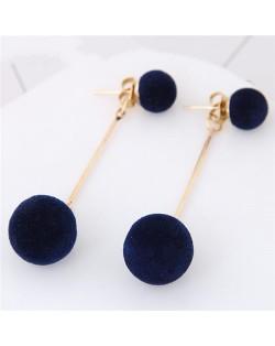 Fluffy Ball Shape Elegant Korean Fashion Stud Earrings - Dark Blue