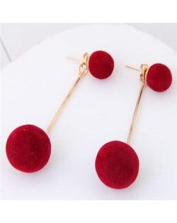 Fluffy Ball Shape Elegant Korean Fashion Stud Earrings - Wine Red
