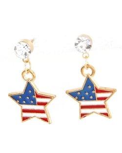United States National Flag Theme Star Shape Oil Spot Glazed Fashion Stud Earrings