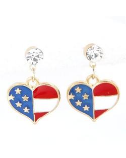 U.S. Flag Theme Heart Shape Oil Spot Glazed Fashion Stud Earrings