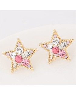 Assorted Shapes Czech Rhinestone Inlaid Shining Lucky Star Fashion Stud Earrings - Golden