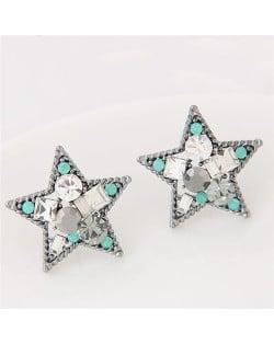 Assorted Shapes Czech Rhinestone Inlaid Shining Lucky Star Fashion Stud Earrings - Silver