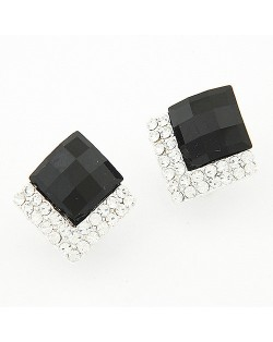 Rhinestone Embellished Square Gem Sweet Fashion Stud Earrings - Black