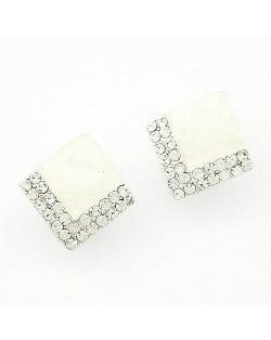 Rhinestone Embellished Square Gem Sweet Fashion Stud Earrings - White
