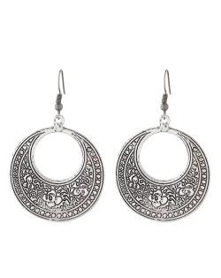 Vintage Floral Engraving Design Dangling Hoop Earrings - Silver