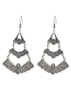 Vintage Vine Engravings Hollow Triple Layers Waterdrop Design Fashion Stud Earrings - Silver
