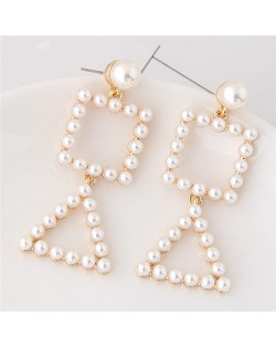 Triangle and Square Combo Design Pearl Fashion Stud Earrings