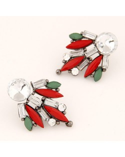 Shining Floral Pattern Rhinestone and Resin Gem Fashion Stud Earrings - Multicolor