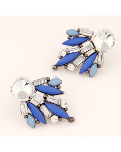 Shining Floral Pattern Rhinestone and Resin Gem Fashion Stud Earrings - Blue