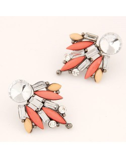 Shining Floral Pattern Rhinestone and Resin Gem Fashion Stud Earrings - Pink