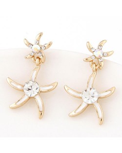 Rhinestone Inlaid Oil Spot Glazed Starfish Fashion Stud Earrings - White