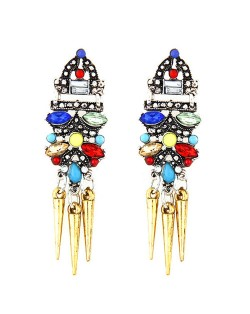 High Fashion Assorted Colors Resin Gems Embellished Golden Rivets Stud Earrings
