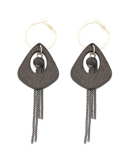 Exaggerated Geometric Wooden with Chain Tassel Design Fashion Ear Clips - Gray