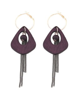 Exaggerated Geometric Wooden with Chain Tassel Design Fashion Ear Clips - Purple