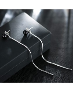 Delicate Black Bead with Long Tassel Slim Style Fashion Stud Earrings