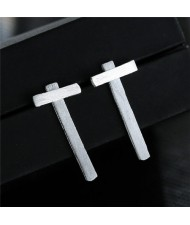 Unique Cross Design High Fashion Silver Stud Earrings