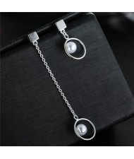 Pearl Inlaid Hoops Fashion Asymmetric Design Stud Earrings