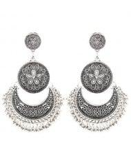 Vintage Floral and Vine Engraving Design Dangling Waterdrop Stud Earrings - Silver