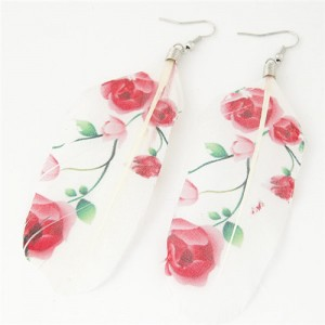 Paintings Printed Popular Fashion Feather Earrings - Roses