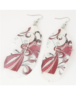 Paintings Printed Popular Fashion Feather Earrings - Red Leaves