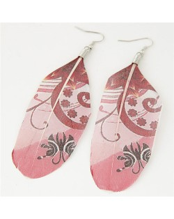 Paintings Printed Popular Fashion Feather Earrings - Blooming Flowers