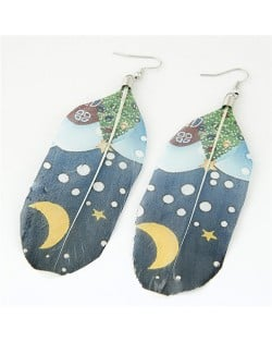 Paintings Printed Popular Fashion Feather Earrings - Christmas Eve